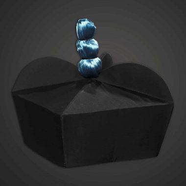 Biretta, Black w/ blue pom