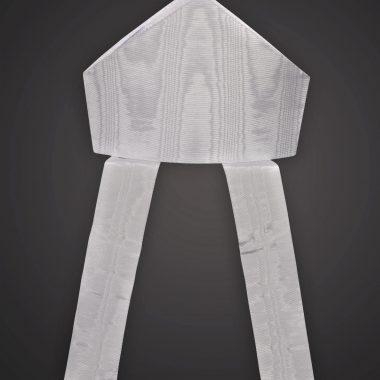 Mitre, White Silk Moire