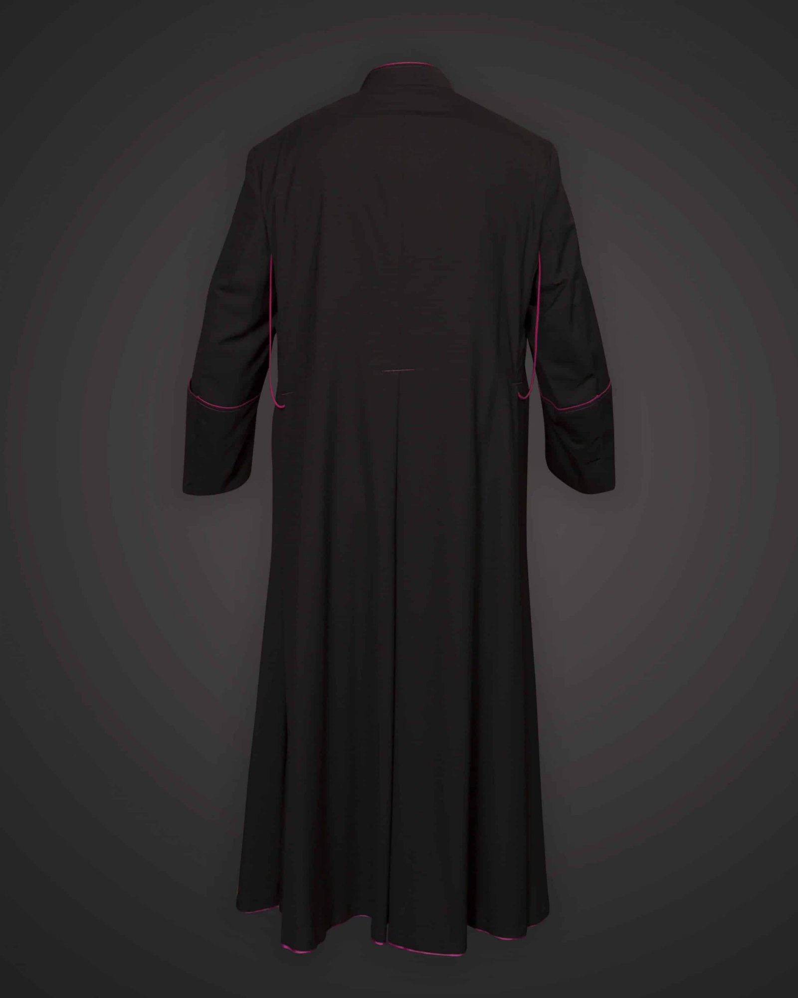 Black Cassock Purple Trim (Msgr Chaplain) - Satin Wool