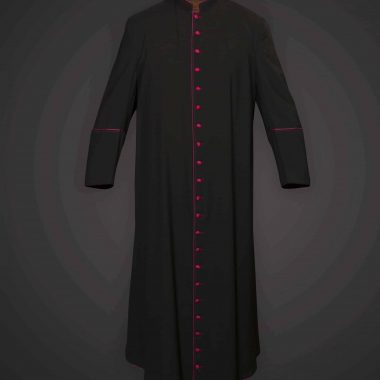 Black Cassock Purple Trim (Msgr Chaplain) - Serge 996