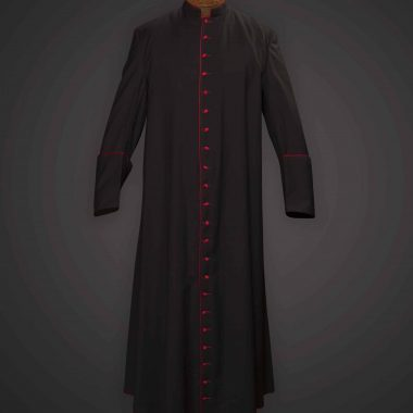 Black Cassock Red Trim (Prelate of Honor) - Satin Wool