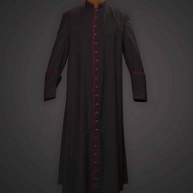 Black Cassock Red Trim (Prelate of Honor) - Serge 996