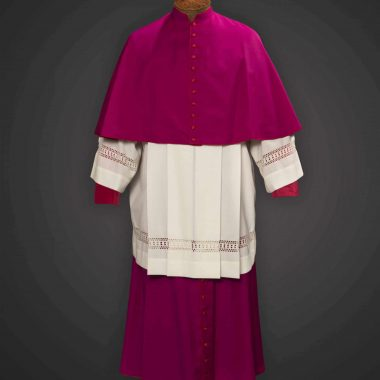 Purple Cassock / Red Trim (Prelate of Honor) -  Satin Wool