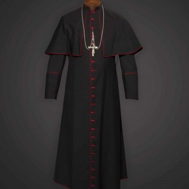 Mass Cassock (Bishop) Black With Red Trim - Apalgatex